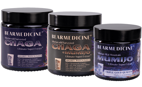 Chaga + Mumijo & Chaga pure & Mumijo pure Ultimate-Super Extract 60% Chromogens (jars: 3 x 60 daily servings)